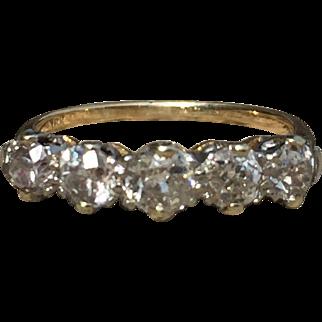 Vintage Five Stone Diamond Ring Old European Cut