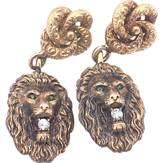 Lion Earrings Made With Victorian Cufflinks