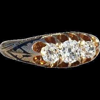 Antique Three Stone Diamond Ring Old Mine Cut