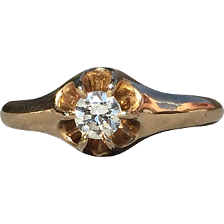 Vintage Diamond Ring With Belcher or Buttercup Style Setting