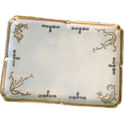 Vintage Limoges Dresser Tray, Hand-Painted with Gilt Accent
