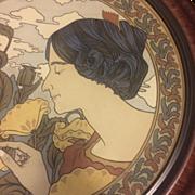 Mettlach Etched Earthenware Art Nouveau Portrait