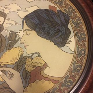 Mettlach Etched Earthenware Art Nouveau Portrait in Custom Frame, 2 Feet in Diameter