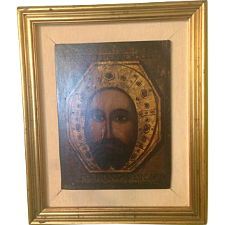 """""""Image Not Made by Hands"""" Orthodox-Style Painting in Gilt Frame"""