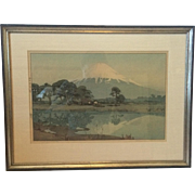 Hiroshi Yoshida Woodblock Print with Japanese Signature in Sumi Ink