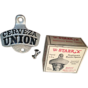 1950s Cerveza Union Wall Mount Bottle Opener, New Old Stock