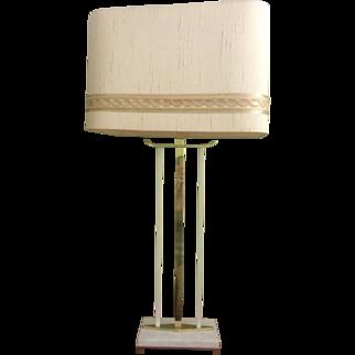 Mid-century Modern Sculptural Lamp, Marble & Brass