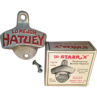 1950s Lo Mejor Hatuey Wall Mount Bottle Opener by Starr X, New Old Stock (in Original Box)