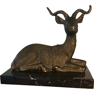 Brass Antelope on Marble Base