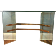 Beveled Glass and Brass Console Table, Hollywood Regency
