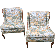 Pair of Vintage Winged Slipper Chair, Upholstered