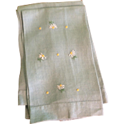 Vintage Hand Embroidered Napkins, Light Blue with Daisies