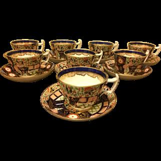 Set of 8 Imari Tea Cups & Saucers