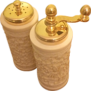 Unused in Box, Vintage Asian Relief Salt & Pepper Shaker Set with Gold Tone Top & Grinder