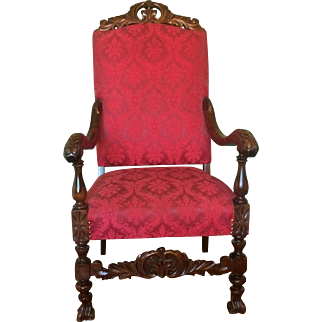 Walnut Carved Throne Chair with Upholstered Seat and Back