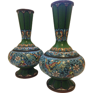 Pair of Intricate Cloisonné Vases, Late 19th / Early 20th Century China