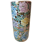 Vintage Ceramic Umbrella Stand in Floral with Pastel & Copper Hues