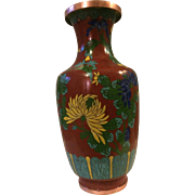 Vintage Cloisonné Vase in Deep Red