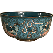 Vintage Cloisonne Bowl Featuring Chinese Dragons