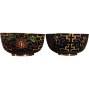 Matching Cloisonné Bowls in Black with Blue Interior
