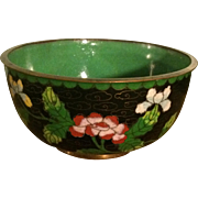 Cloisonné Bowl in Black with Green Interior