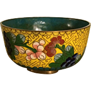 Cloisonne Bowl in Yellow with Floral Design