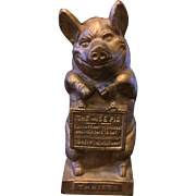 """Thrifty The Wise Pig"" Vintage Cast Iron Bank"