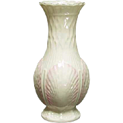 Belleek Pottery Shell Vase, Pink Shells with Gilt Rim, 9th Mark