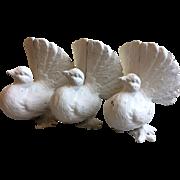Set of Three Vintage Cast Iron Birds