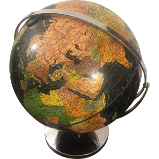 1940s Black Globe with Chrome Cradle and Stand, Weber Costello Co.