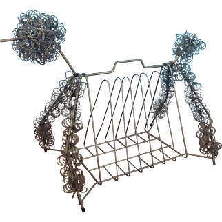 Mid Century Wirework Poodle Magazine Rack
