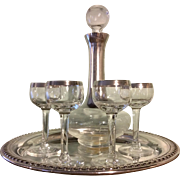 Dorothy Thorpe Cordial Set, Sterling Silver on Crystal