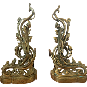 Pair of Antique French Brass Andirons, Louis XV Style