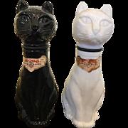 1970s Italian Milk Glass Gori Wine Cat Decanters