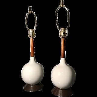 Pair of Mid Century Danish Modern Table Lamps, White Ceramic & Teak