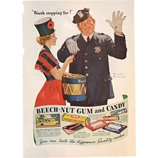 Normal Rockwell 1937 Beech-Nut Gum and Candy Advertisement