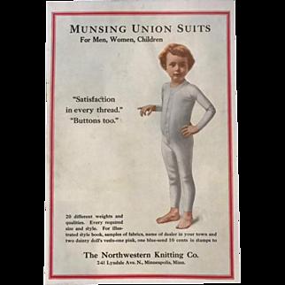 Vintage Munsing Union Suits Advertisement