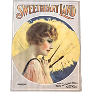 Sweetheart Land 1929 Music Sheet, P.W. Read Artwork