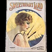 Sweetheart Land 1929 Music Sheet, P.W. Read Artwork