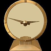 Art Deco Desk Clock in Gold Tone Metal & Glass