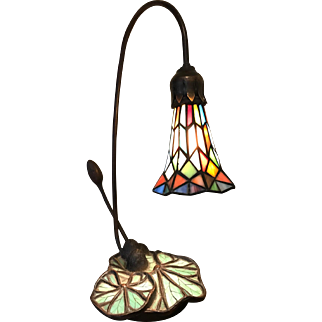 Water Lily Lamp with Leaded Slag Glass Shade