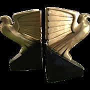 Art Deco Brass Falcon Bookends