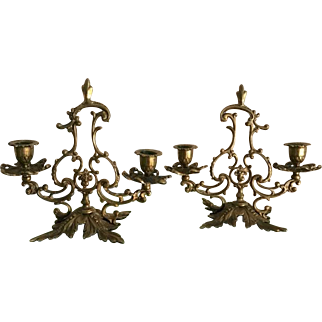 Brass Rococo Candlestick Holders