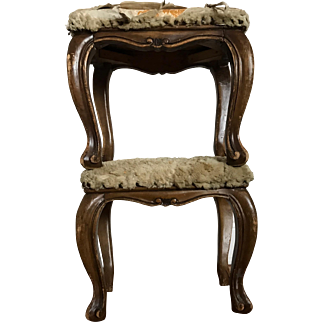 Pair of Antique, Distressed Fur-Topped Footstools