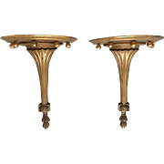 Pair of Neoclassical Style Decorative Wall Shelves in Distressed Gold