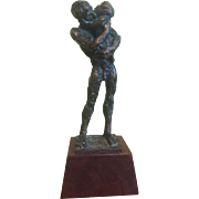 Brutalist Bronze Sculpture, Man Holding Child