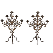 Pair French Five Light Iron Scrolled Table Sconces Candelabras