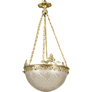 Art Nouveau Gilt Bronze and Etched Glass Dome Hanging Fixture