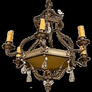 19th Century Dutch Bronze and Glass Six-Arm Chandelier
