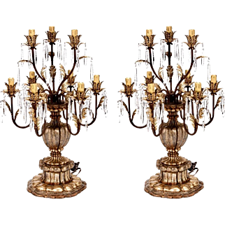 Pair of Large 19th Century Italian Gilt Wood and Crystal Lustre Table Lamps